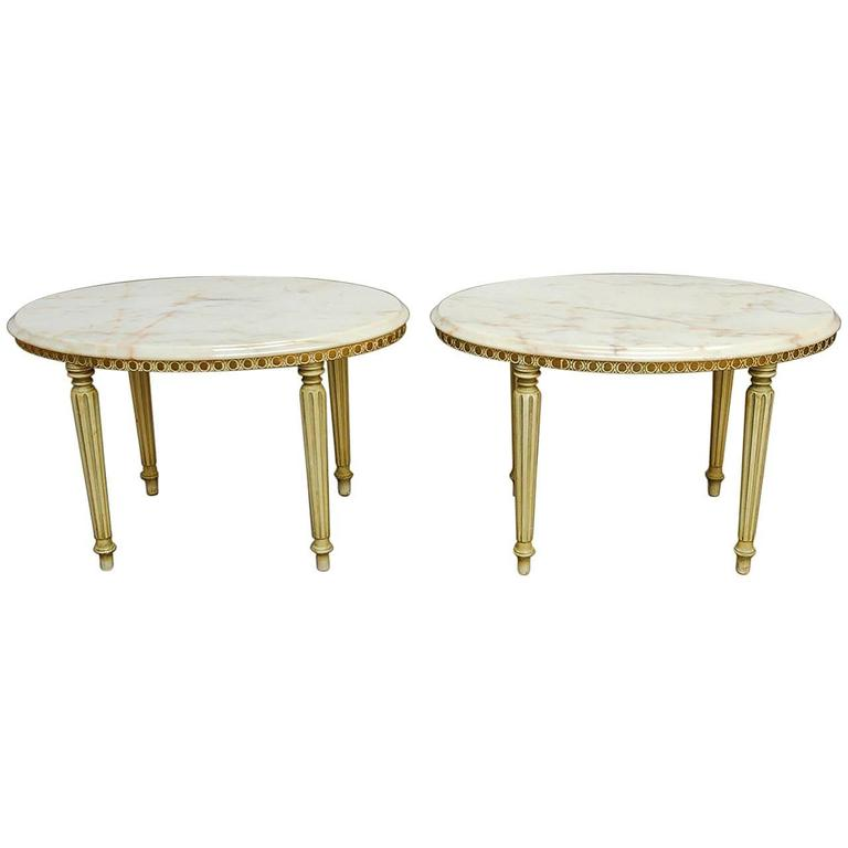 Pair of Louis XVI Style Oval Marble Top Drink Tables