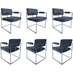 """Six Chrome """"Thin Line"""" Dining Armchairs by Milo Baughman for Thayer Coggin"""