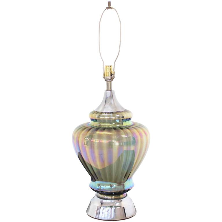 large iridescent glass chrome base table lamp for sale at 1stdibs. Black Bedroom Furniture Sets. Home Design Ideas