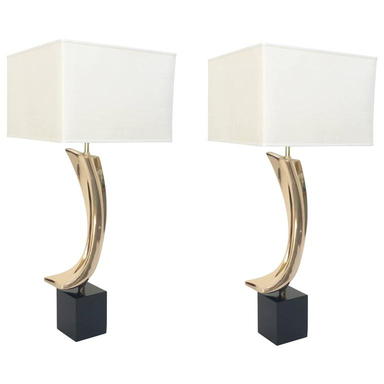 Pair of Polished Bass Table Lamps by Maurizio Tempestini