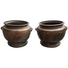 Pair of Japan Antique Bronze Flower Planters, 19th Century Painters Poets