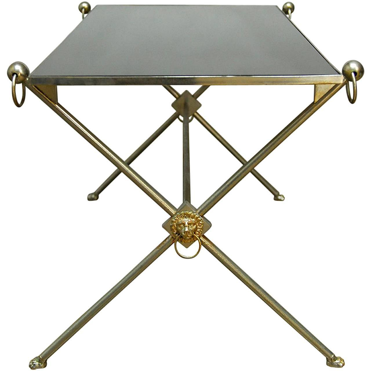Silver Metal And Glass Coffee Table: Maison Bagues Silver Metal And Glass Cocktail Table At 1stdibs