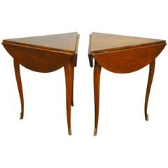 Pair of Louis XV Round Mahogany Drop Leaf Tables by Baker