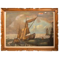 Large 19th Century Dutch Napoleonic Pastel Drawing on Paper