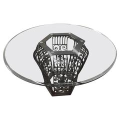 Glass Top Table with Intricate Iron Base