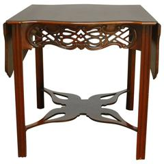 Chinese Chippendale Mahogany Drop Leaf Table by Baker