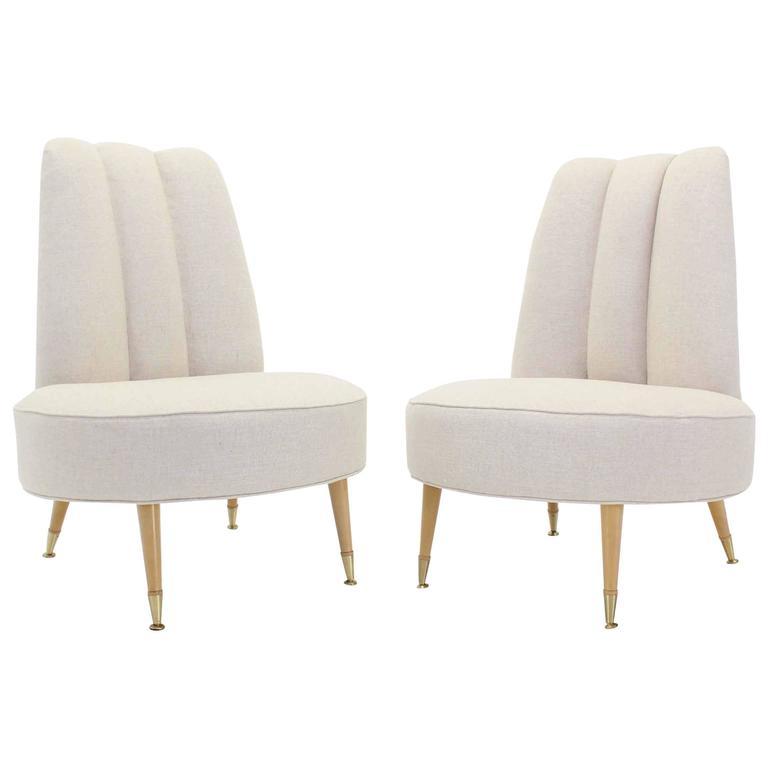 Fine Newly Upholstered Mid Century Modern Slipper Chairs Theyellowbook Wood Chair Design Ideas Theyellowbookinfo