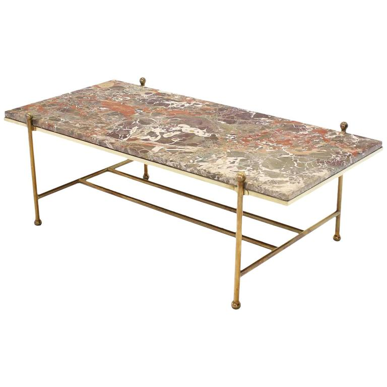 Mid Century Modern Marble Table: Brass And Marble Mid-Century Modern Coffee Table At 1stdibs