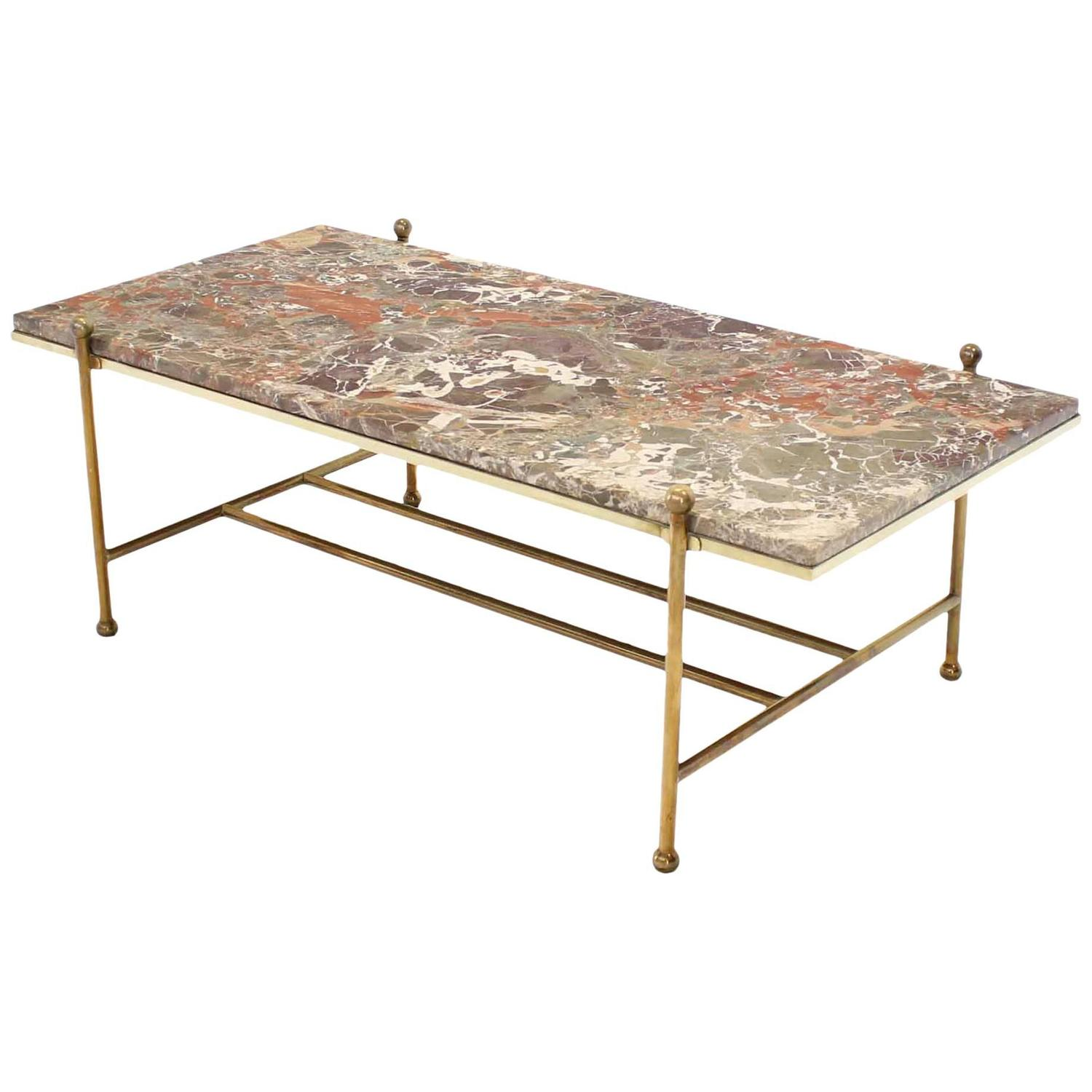 Mid Century Brass Marble Round Coffee Table: Brass And Marble Mid-Century Modern Coffee Table For Sale