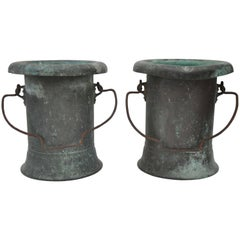 19th Century Pair of Verdigris Vessels From France