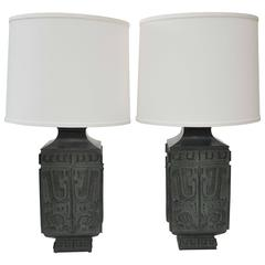 20th Century Pair of Bronze Lamps in the Style of James Mont