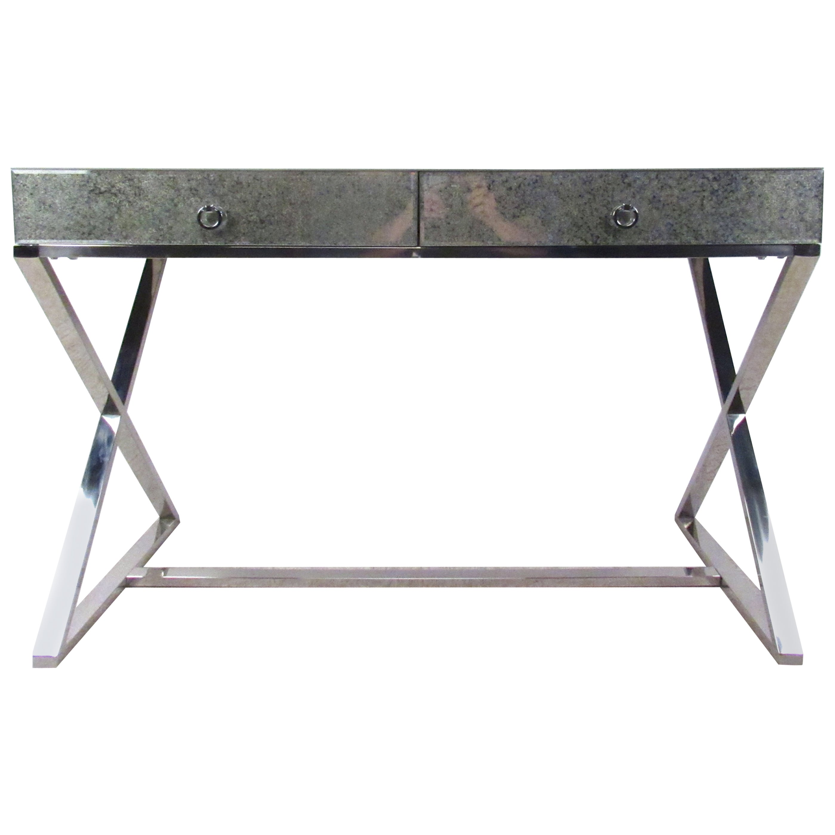 Mid-Century Style Glass Top Writing Desk