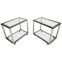Pair of Mid-Century Chrome End Tables