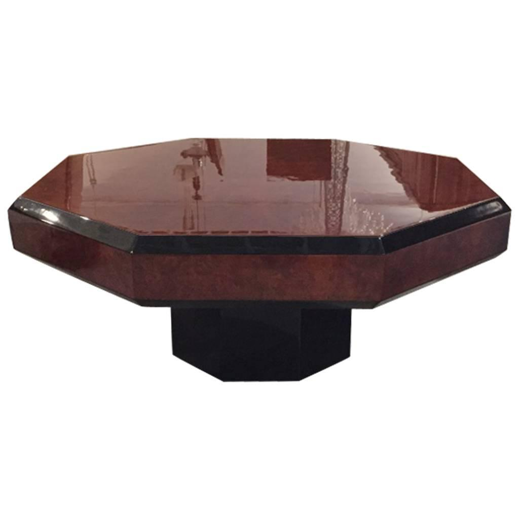 French Art Deco Octagonal Burl Coffee Table For Sale At 1stdibs