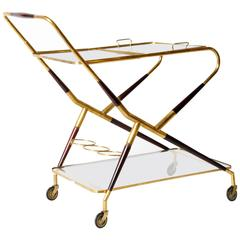 Vintage Glass and Brass Bar Cart