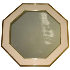 French Brass & Lacquered Panel Octagonal Wall Mirror