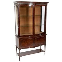 Fine Quality Edwardian Serpentine Shaped Display Cabinet