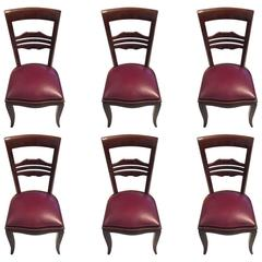 French Art Deco Dining Chairs Set of Six