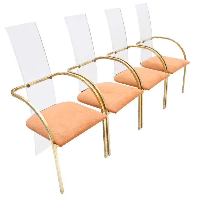 Maison jansen perspex dining chairs at 1stdibs for Perspex furniture