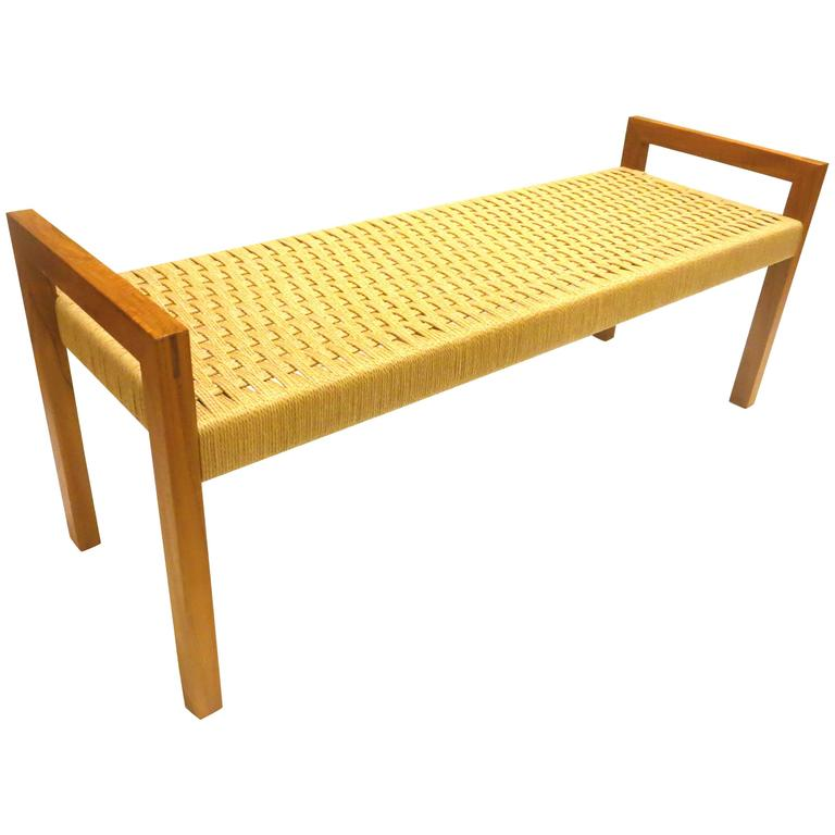 Danish Modern Solid Teak Frame with Rope Seat Large Bench at 1stdibs