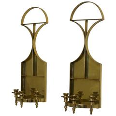 Pair of Solid Brass Mid-Century Candle Wall Sconces