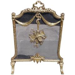 French Brass Decorative Ribbon and Floral Free Standing Fire Screen, Circa 1830