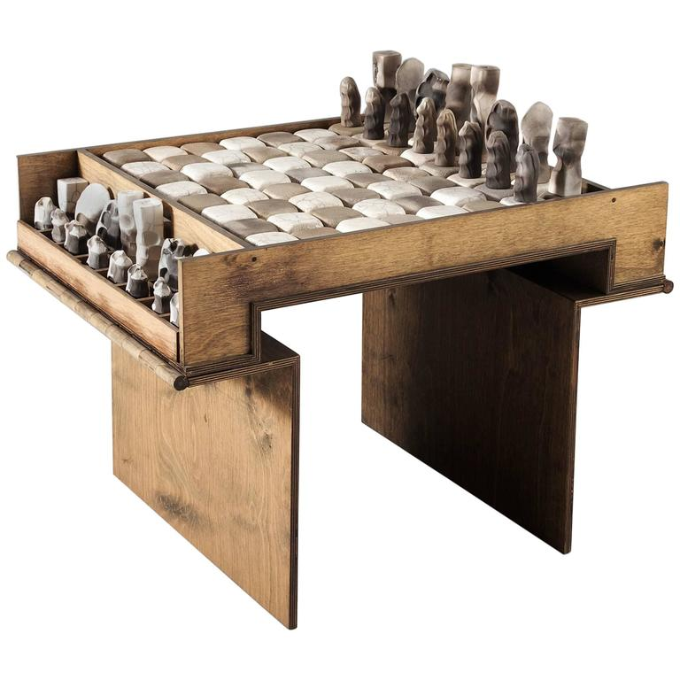 Superbe Exceptional Ceramic Chess Set And Table For Sale