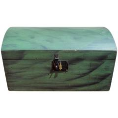 American Paint Decorated Dome-Top Box in Rare Green Paint