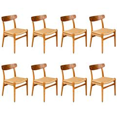 Set of Eight Chairs by Hans Wegner, Denmark 1950