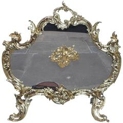French Brass Cherub and Acanthus Free Standing Fire Screen, Circa 1830
