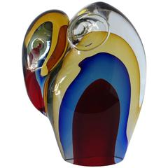 Murano Elephant Sculpture Sommerso Glass by Romano Dona