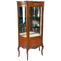 Exceptional Kingwood 19th Century Parquetry Concave Shape Vitrine