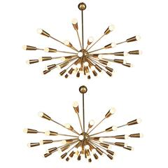 Large Pair of Italian Brass Chandeliers, 1960s