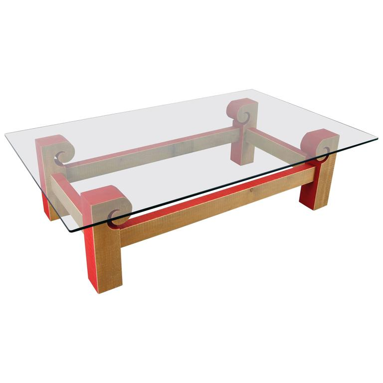 Contemporary Artisan Glass Top Coffee Table By Michelangeli Italy For Sale At 1stdibs
