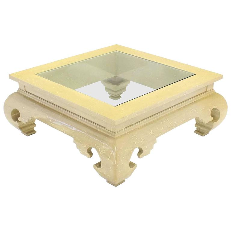 Large Square Figural Base Lacquer Coffee Table
