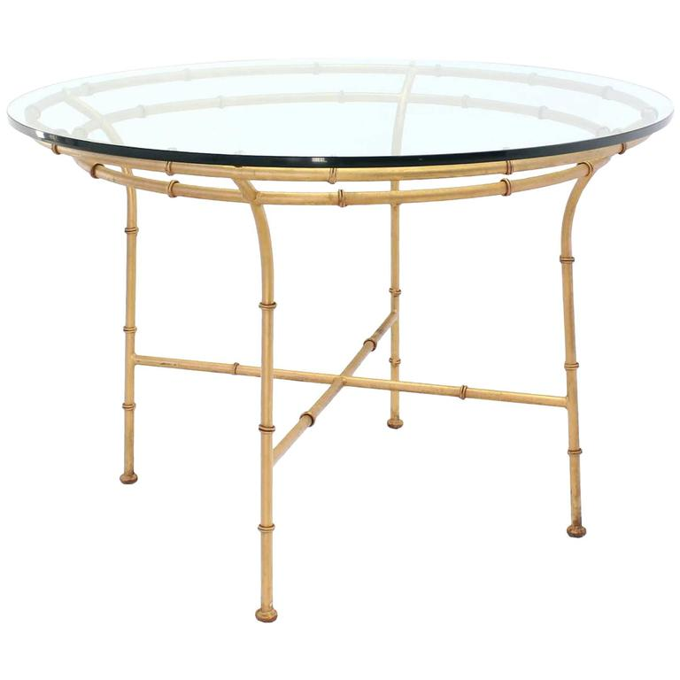 Faux Bamboo X Base Round Dining Table