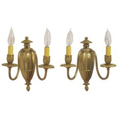 Pair of Edwardian Brass Sconces