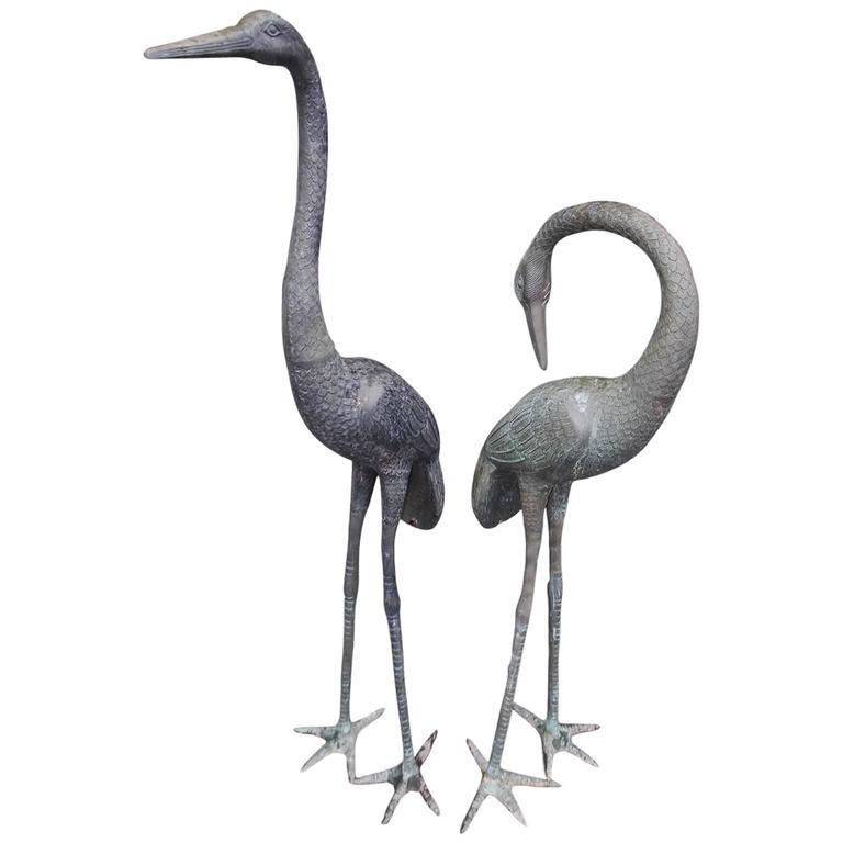 Pair of English Bronze Crane Garden Ornaments, Circa 1880