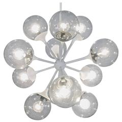 Vintage 1950s Glass Sputnik Chandelier by Lightolier