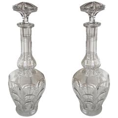 French Cut Crystal Blown and Molded Glass Pair of Decanters, circa 1880