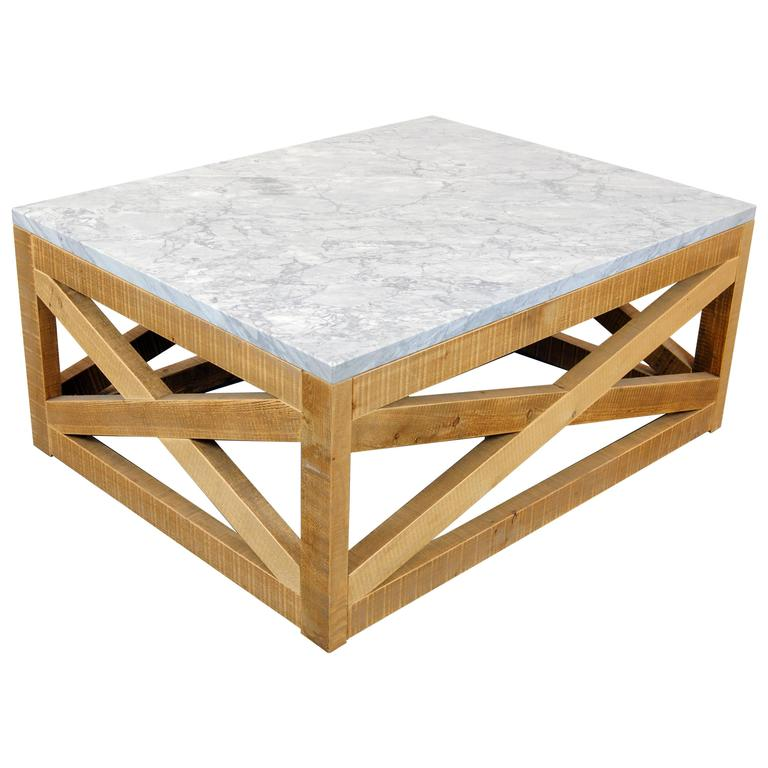 Marble and Wood Coffee Table by Michelangeli, Italy