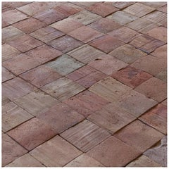 Lot of 1540 Square Feet 19th Century French Carre Rose Terracotta Tiles