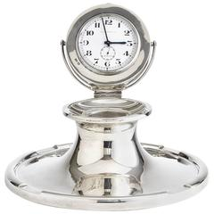 Large Nautical Capstan Silver Clock Inkwell by Walker & Hall, Dated, circa 1914