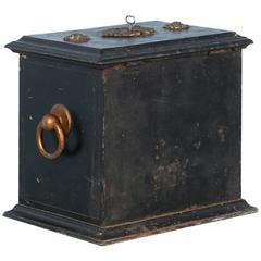 Antique Iron Safe Painted Black from Denmark, circa 1860