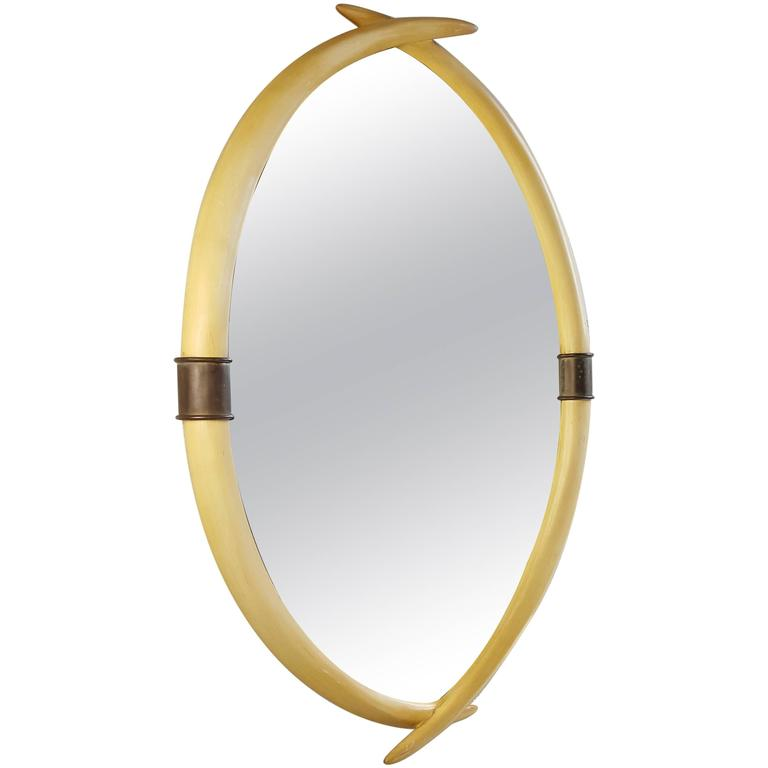 Hollywood Regency Brass and Faux Ivory Tusk Wall Mirror by Chapman, 1976