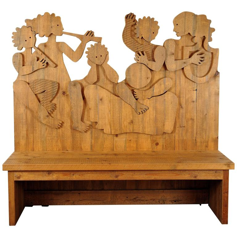 Artisan Solid Wood Bench by Michelangeli, Italy