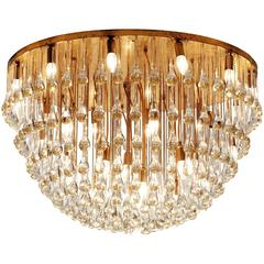 Venini Large Chandelier in Brass with Glass Drops