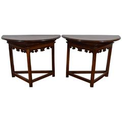 Pair of Italian, Emiliana, Carved Demilune Console Tables, 19th Century