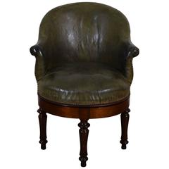 French Louis Philippe Walnut & Leather Upholstered Swiveling Chair, 19th Century