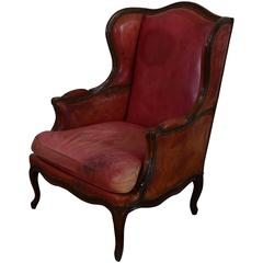French Louis XV Style Walnut and Red Leather Upholstered Bergere, 19th Century